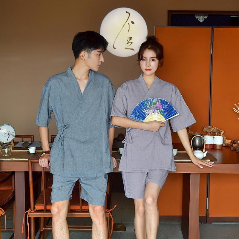 Japon Stili Yukata Yetişkin Çiftin Giyim Kadın Kimono Pamuk Kısa V yakalı Man Jinbei Pijama Pijama Giyim Seti için