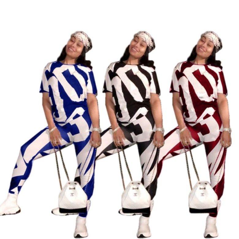 Roupa das mulheres sexy manga curta roupas de duas peças set moda casual treino jogging esporte terno camisola calças justas esporte terno klw0563