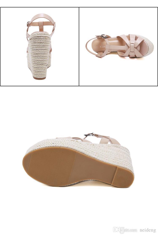 diseñador de la venta caliente-atractivo de punto tejido de paja zapatos de la plataforma de lujo diapositivas de las mujeres tamaño 35 a 40