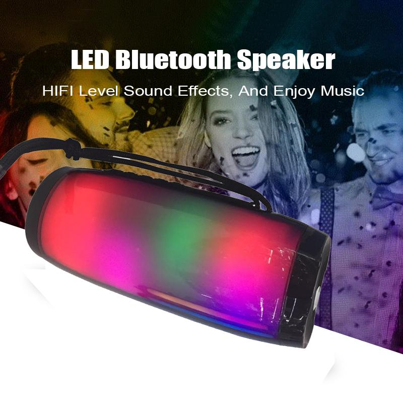 LED Lamp Bluetooth Speaker HIFI Stereo Wireless Portable Column System 10W Sound Box+Mic Hands Free AUX TF FM USB Subwoofer for Iphone