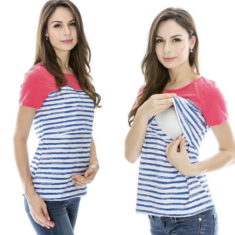 Luva de algodão Mulheres curto T-shirt Roupa de maternidade Maternidade Verão Tops Amamentação T-shirt Para Gestantes Tops Enfermagem
