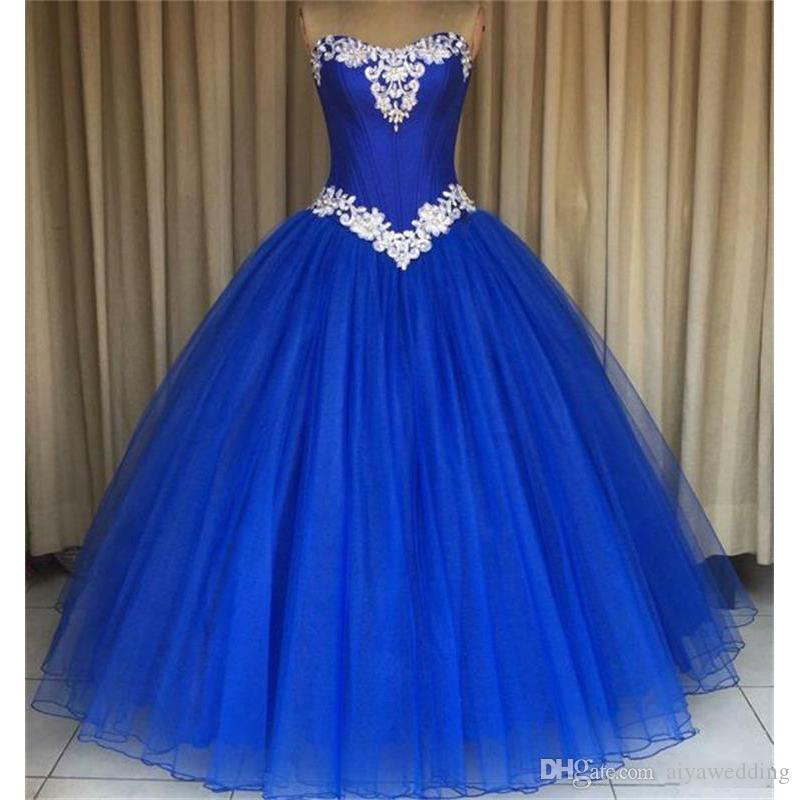 Impresionante Royal Blue Hot Pink Quinceanera Prom Dresses Cheap Ball Gown Sweet 16 Vestidos para niñas Organza Corset Back Beaded Crystals Long