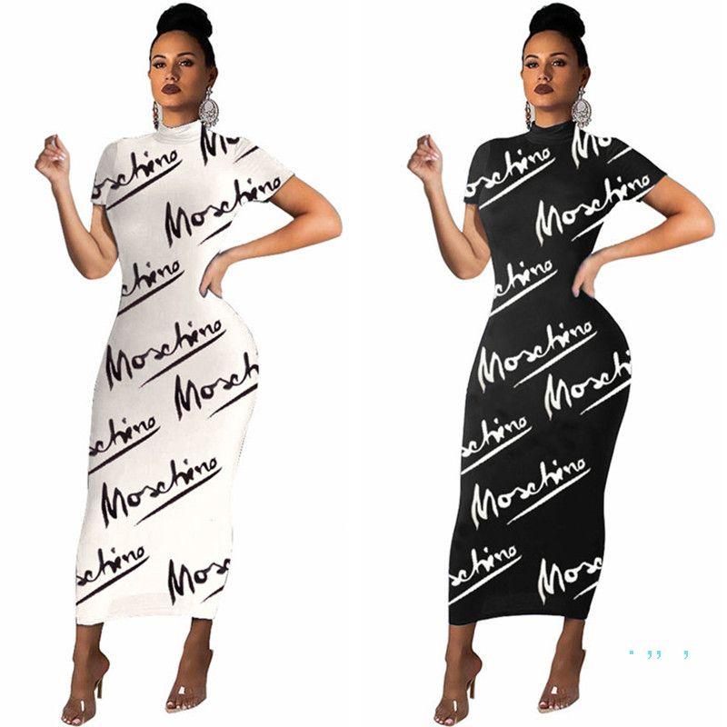 Женщины Письмо Печать Длинные платья Мода BodyCon Платье Модные Летние Коротким Рукавом Повседневная Футболка Skinny Slim Платье Женщин Вечеринка Одежда E3503