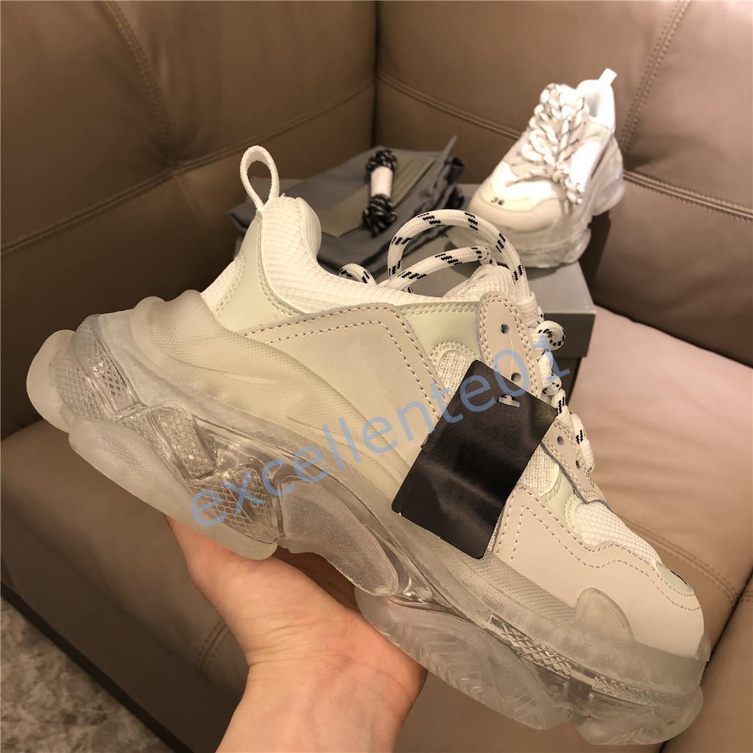 2020 Paris Casual Schuhe Triple S Klare Sohle-Trainer Vater Schuh Sneaker Schwarz Übergroße Mens Womens Beige beste Qualitätsläufer Chaussures