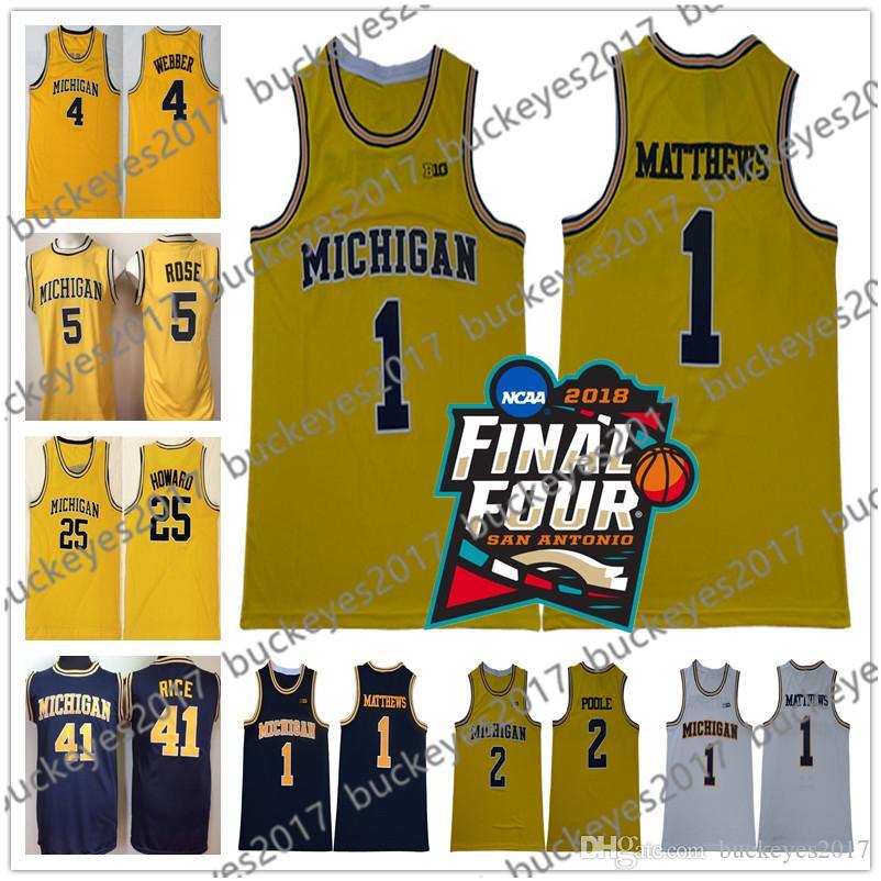 2018 NCAA Final Four Michigan Wolverines College Basketball Jersey Webber Rose Howard Rice Chris Jalen Dwight Glen Yellow Vintage