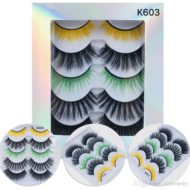 5 Pairs/Pack Eyelashes 3D Mink Lashes Crisscross False Eyelash Hand Made Eye Lashes Printed Logo