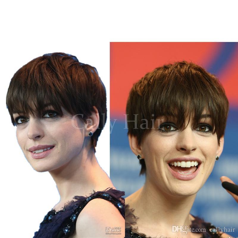Cabello indio Cabello humano pixie ninguno encaje humano bob corto ninguno peluca de encaje pelucas brasileñas pelucas de corte corto para mujeres negras