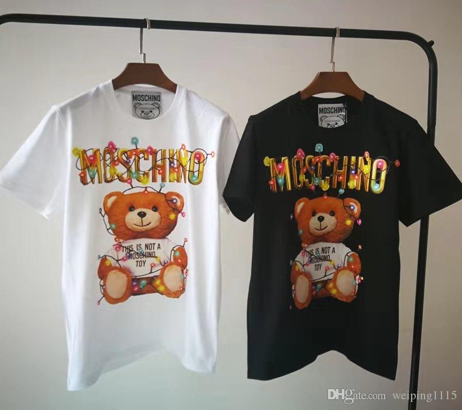 Alta qualità lampadina litte orso classico lettera maglietta del fumetto Tshirt Moda Uomo magliette delle donne abbigliamento casual in cotone Tee Top
