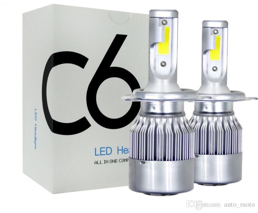 1 paire moins cher prix COB C6 Réel 7600LM 120W LED phare de voiture H1 H3 H4 H7 9003 9004 9005 9006 Kit Hi / Lo Ampoules 6000K