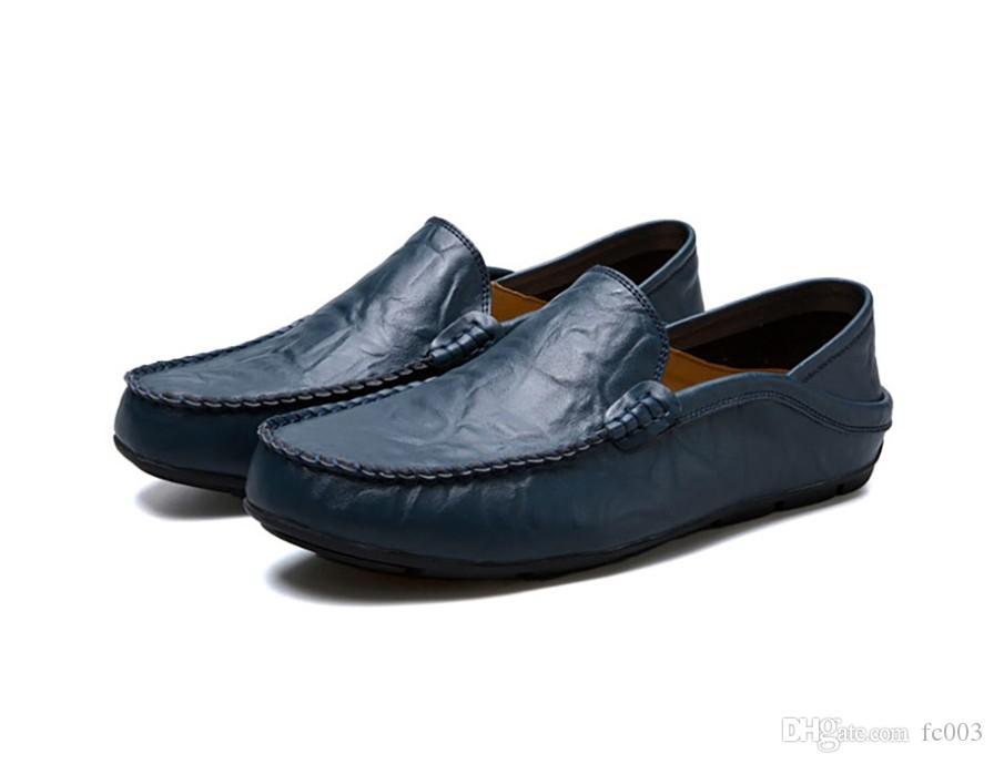 Cuero de la manera de los hombres ocasionales respirables de los holgazanes de los mocasines de cuero genuino cómodo zapatos planos de los hombres Calzado impermeable