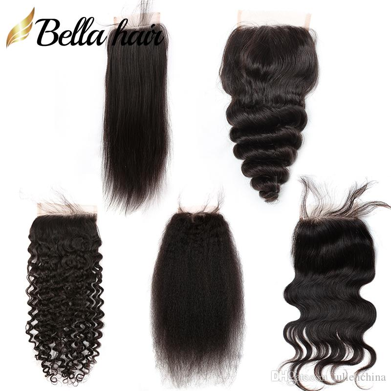 Brazilian Pre gerupft 4 * 4 Rohboden Menschliches Haar Closure mit Baby-Haar-natürliche schwarze gerade Körperwellenförmige peruanischen Malaysian Indian mongolische