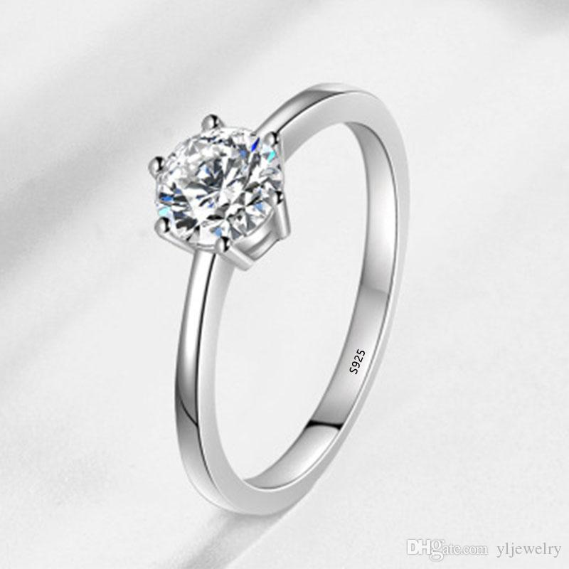 Romantic Wedding Rings Women Jewelry 6mm Cubic Zirconia Rings for Women Real 925 Silver Ring Girl Crystal Jewelry Wholesale XR023