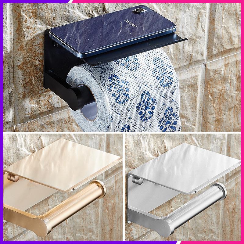 أسود المرحاض لفة حامل مع الهاتف رف صينية رف الفضاء الألومنيوم ورقة حامل الحمام ورقة منشفة رف اكسسوارات الحمام T200425