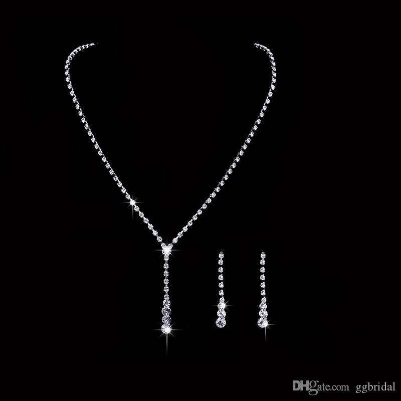 EM STOCK Conjunto de Jóias de Cristal Brincos Colar de Diamantes Brincos Conjuntos de Jóias de Casamento para a noiva Damas de Honra Acessórios frete grátis