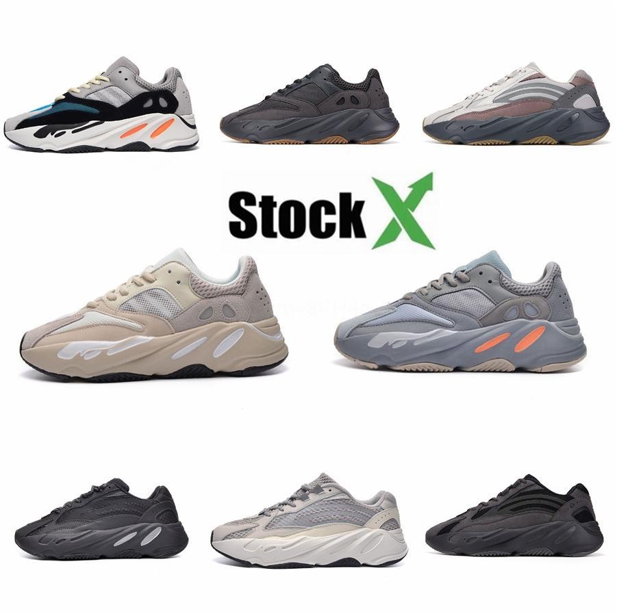 Kanye West 700 V2 hospital azul de los hombres zapatos corrientes del trullo imán reflectante Utilidad Negro inercia estática para hombre entrenadores deportivos Sn # DSK808
