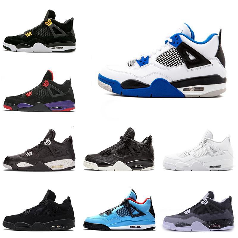 Nuevos 4s zapatos para hombre de baloncesto Motosports gato azul Negro puro dinero criados blanco Hombres de cemento entrenadores zapatilla de deporte de los deportes tamaño del zapato 4 8-13
