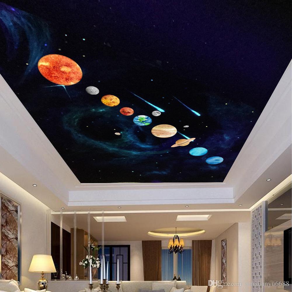 decoraciones de dormitorio del sistema solar Compre 2018 Real Top Fashion Resplandor Extrable En Los Planetas Oscuros Sistema Solar Etiqueta De La Pared Decoracin Para Los Nios Dormitorio Sala