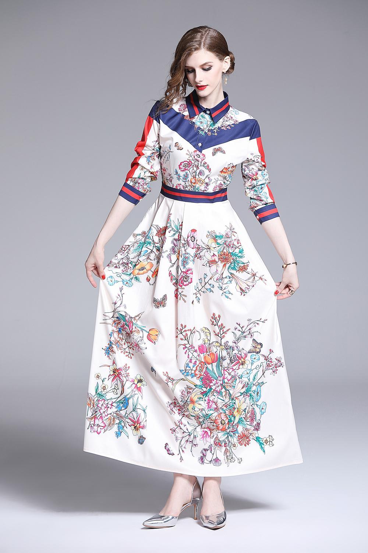Yeni 2020 İlkbahar Yaz Sonbahar Pist Vintage Barok Baskı Yaka Uzun Kollu İmparatorluğu Bel Kadınlar Bayanlar Casual A-Line Maxi Plaj Elbise