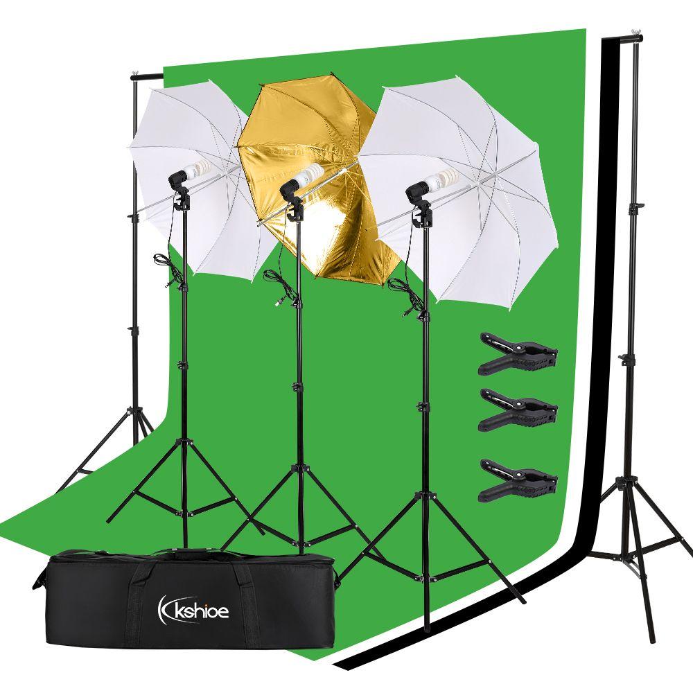 45W Фото Фон Студия Фон Softbox Umbrella Непрерывное освещение Kit Soft Light Umbrella фона кадра Набор 3 Огней