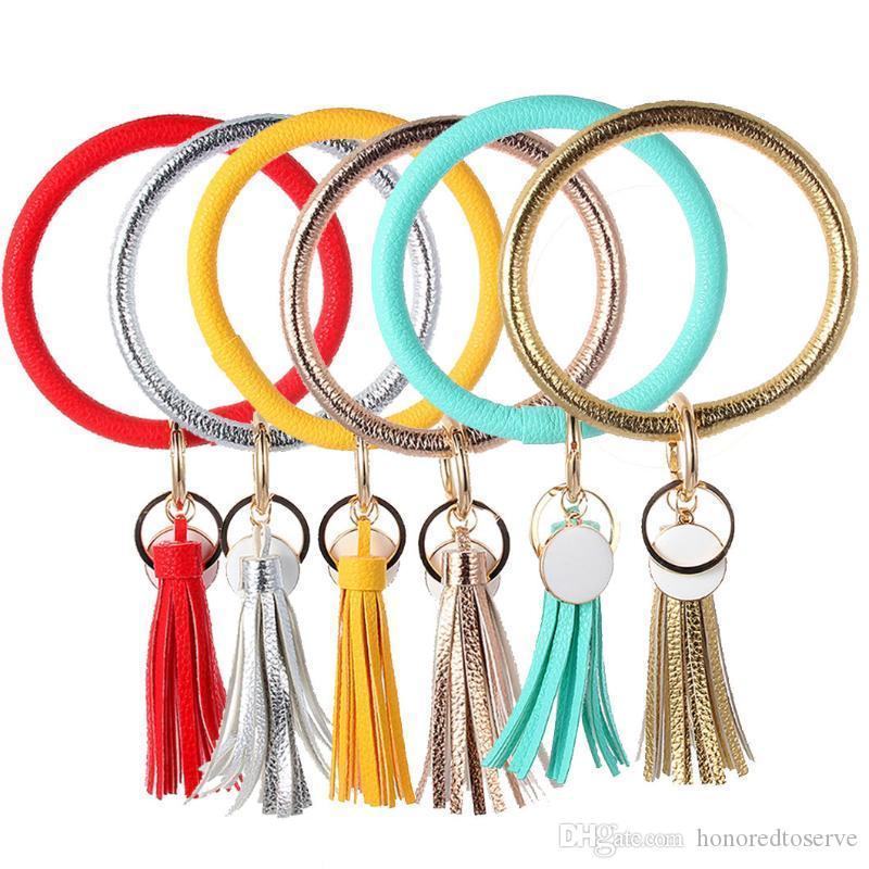 New multiful PU-Leder lange Quaste Schlüsselanhänger Fashion Trend Einfache Große Armband Armband Keychain Schmucksachen für Frauen Mädchen # 3