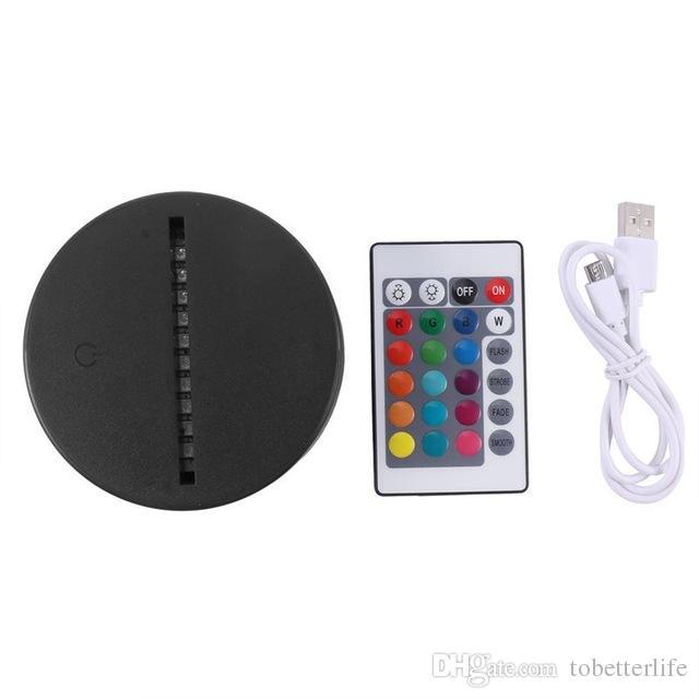 RGB Işıkları LED Illusion Lamba için Lamba Tabanı 4mm Akrilik Işık Paneli AA Pil veya DC 5 V USB 3D Gece Lambası