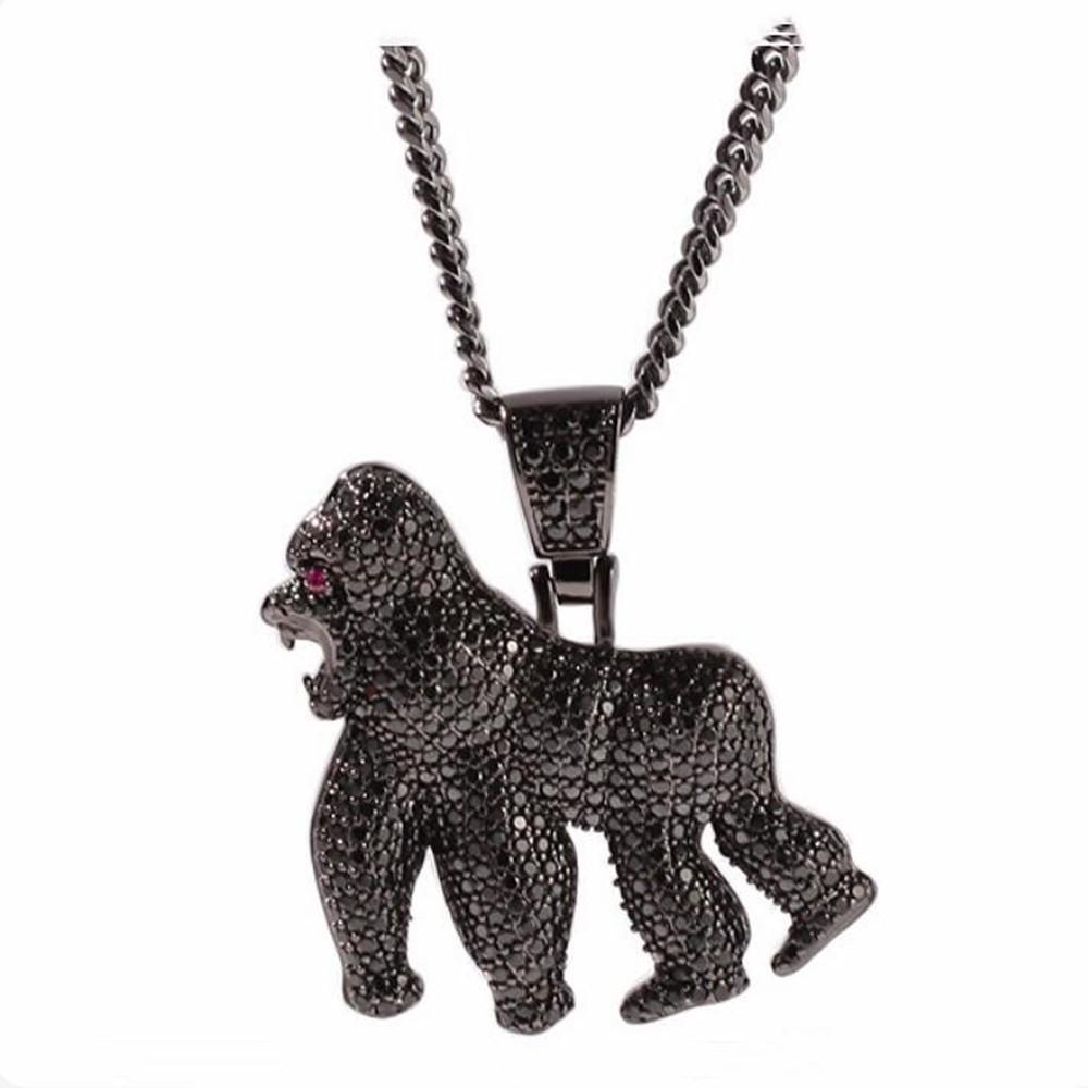 Joyería collar de la personalidad del gorila de Hip Hop Blusterous animal completo 3A CZ Zircon de Bling hacia fuera helado collar de los colgantes para los hombres del golpeador
