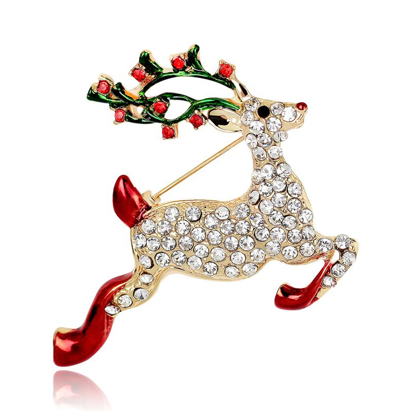 MOLIAN Sika deer Brooch Cubic Zirconia Animal Deer Pins Copper Brooches Gold Lovely jewelry for women Romantic jewellery Gifts