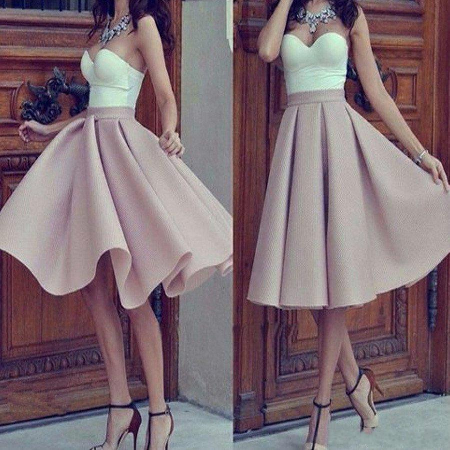 2020 Nude Pink Homecoming Dresses A Line Sweetheart Ruffles Knee Length Formal Short Prom Gowns Cocktail Dresses