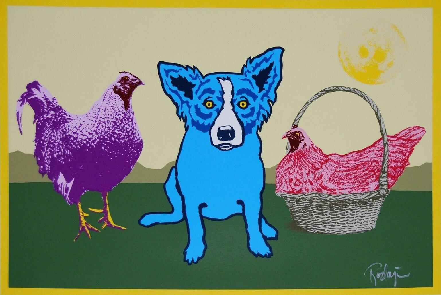 George Rodrigue Blue Dog Chicken In A Basket Yellow Moon Home Decor Handpainted &HD Print Oil Paintings On Canvas Wall Art Pictures 200113