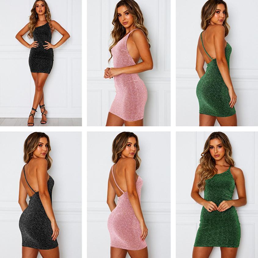 Desgaste de las mujeres del verano vestido bodycon atractivo mini falda del partido del club flacos delgados de la falda de la manera se viste del color sólido de los tirantes de espagueti vestido CZ527