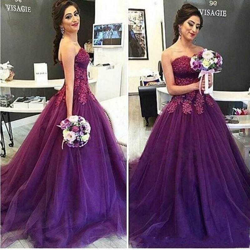 Hermosa púrpura vestidos de noche del baile de fin de 2020 apliques con cuentas de encaje imperio cintura vestido sin tirantes del partido Red Carpet Vestidos
