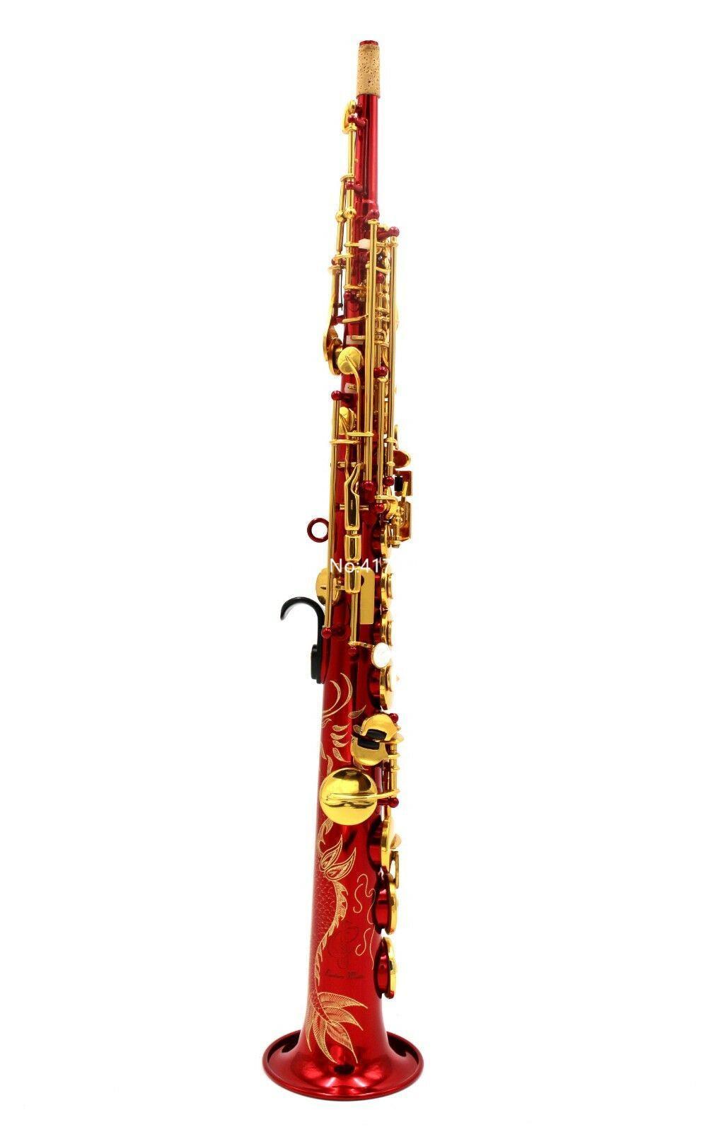 Sıcak Satış soprano saksofon B Düz kırmızı lake boyun tipi düz Müzik Aletleri Profesyonel With Aksesuarları inşa