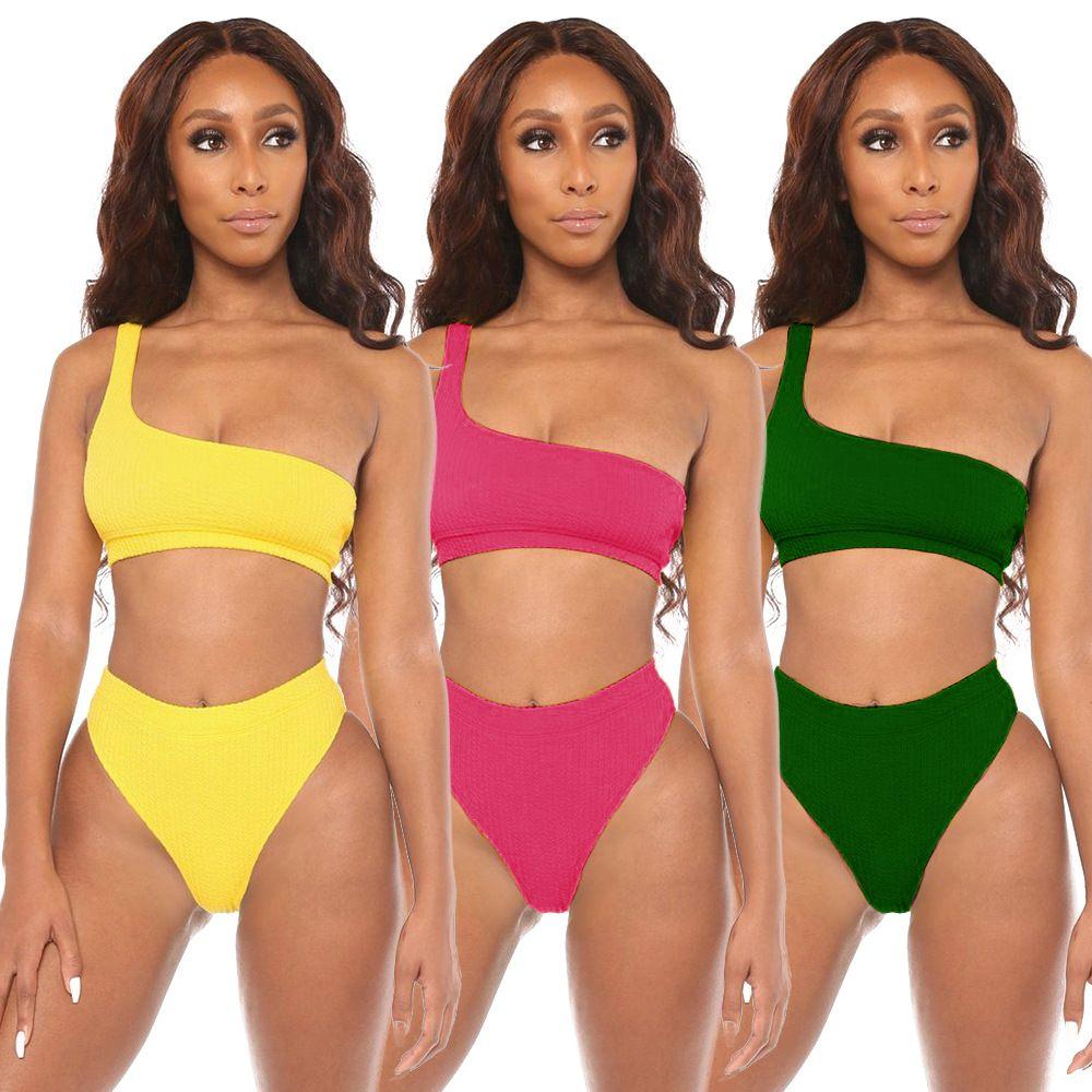 женский купальник сплошной цвет индивидуальный сплит купальник одно плечо сексуальный бикини Холтер из двух частей женские купальники купальники