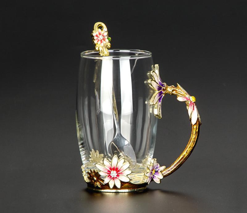 Creativo resistente al calor taza de cristal esmalte taza de cristal flor juego de té taza de café agua leche café Drinkware para regalo