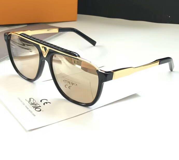 Luxo-Men Piloto mascote óculos de sol ouro / preto ouro Sonnenbrille Designer De Luxo Óculos De Sol Clássico Óculos novos com caixa