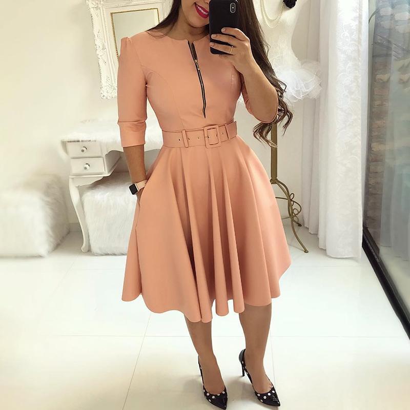 Compre 2019 Verano Moda Mujer Elegante A Line Túnica Vestido De Fiesta O Cuello Colorido Sólido Cremallera Hasta Cinturón Plisado Vestido Casual A