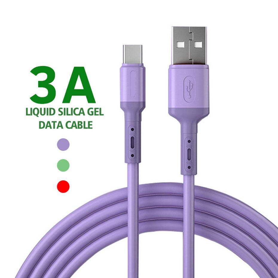 USB tipo C Cable líquido de silicona suave 3A cable USB Micro USB Android tableta del teléfono móvil C de carga rápida Fecha Cord