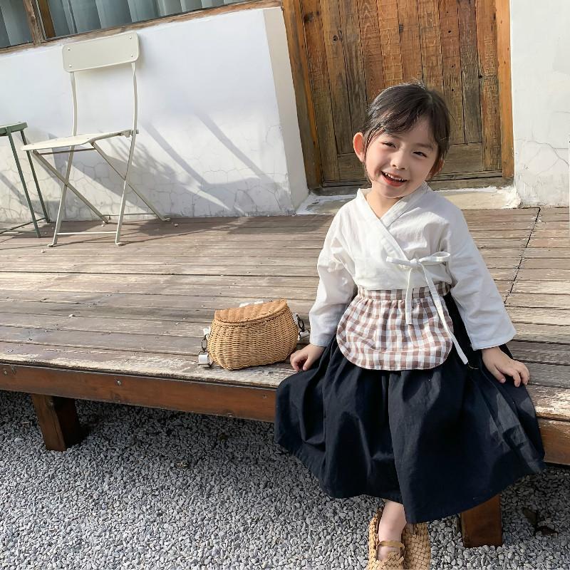 2020 한국어 스타일 가을 아동 의류 유아 여자 의류 세트 + 스커트와 앞치마 3PCS 아기 어린이 의상 정장 탑