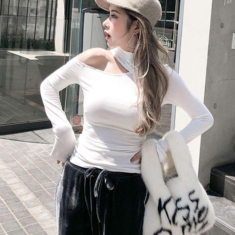 Atacado-2019 T-shirt Mulheres Sexy Cut Out Off Shoulder Femme Outono Camiseta Roupas para Mulheres Fique Collar manga comprida Tops Sólidos