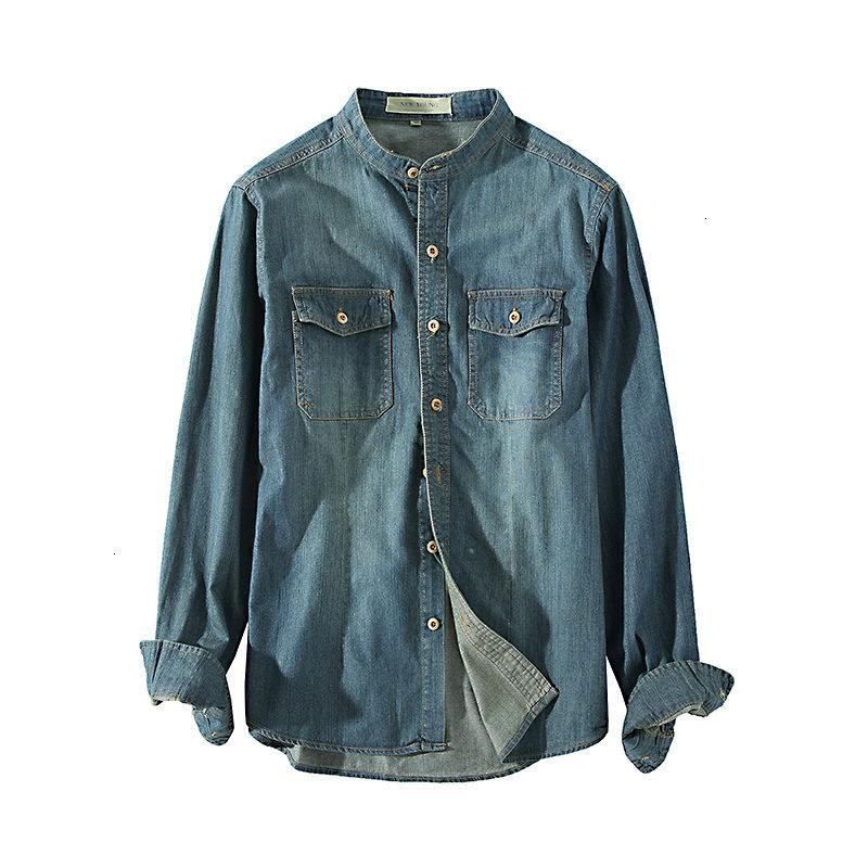 Men Retro Denim Casual Slim Fit Long Sleeve Button Down Shirt With Pocket Top