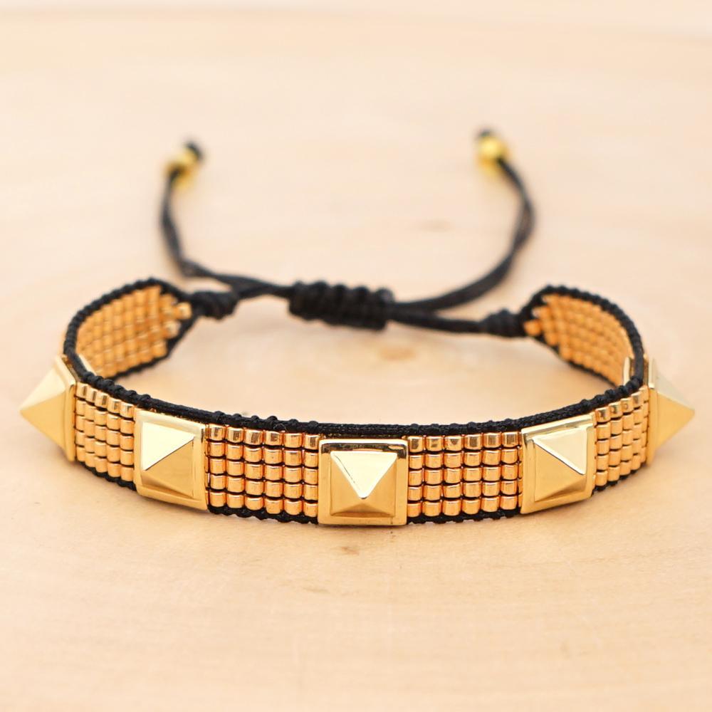 Go2boho Rivet Bracciali per le donne MIYUKI Bracciale oro Pulseras Mujer Moda 2019 bracciale gioielli artigianali miyuki all'ingrosso