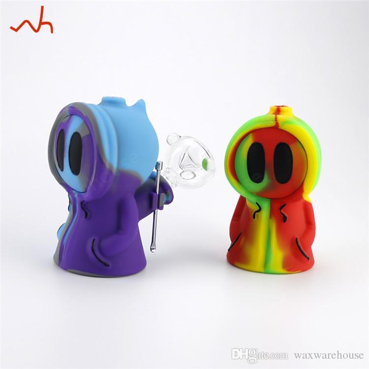 Unique en silicone tuyau barboteur de fumer design masque Ghost narguilé chicha bong mini-tube pour fumer stoner