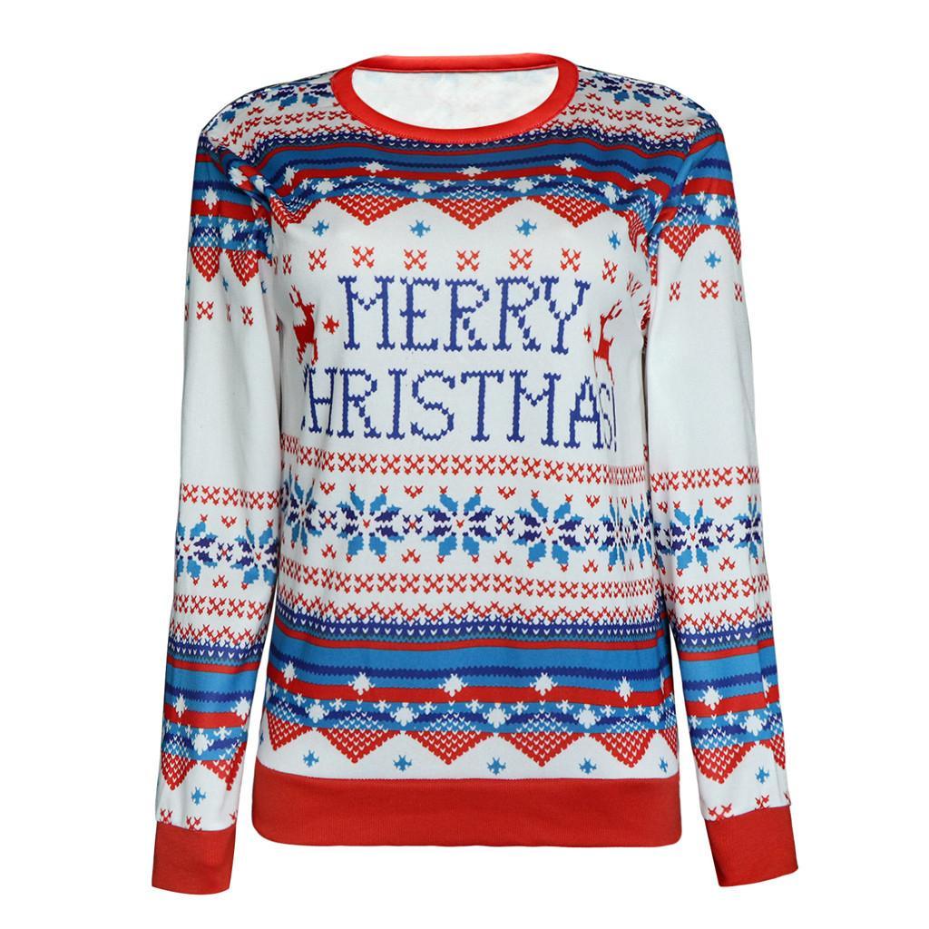 Jumper Kazak Yeni Noel Desenli Noel Kazak Kadınlar İçin Tops JAYCOSIA Artı boyutu 1016 Slim Fit Pullover Tops