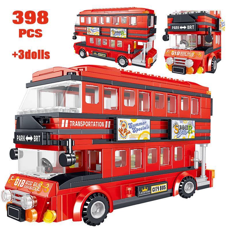 398PCS Creator Brt Double Deck Bus Building Blocks Technic Red Bus City School Auto Bricks Aufklärung Spielzeug für Kinder CX200613