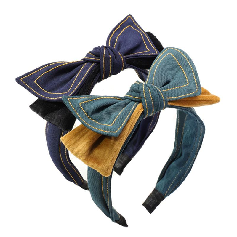 Fashion Sweet Double Layers Bow Headband Women Headwear Fabric Hair Bows Hairband for Girls Korean Hair Accessories Wholesale