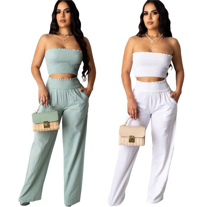 Kadınlara özel 2adet Tüp Üst Yaz Tasarımcı Seksi Katı Renk Pleasted Dişiler Geniş Bacak Yüksek Bel Pantolon Setleri Takımlar