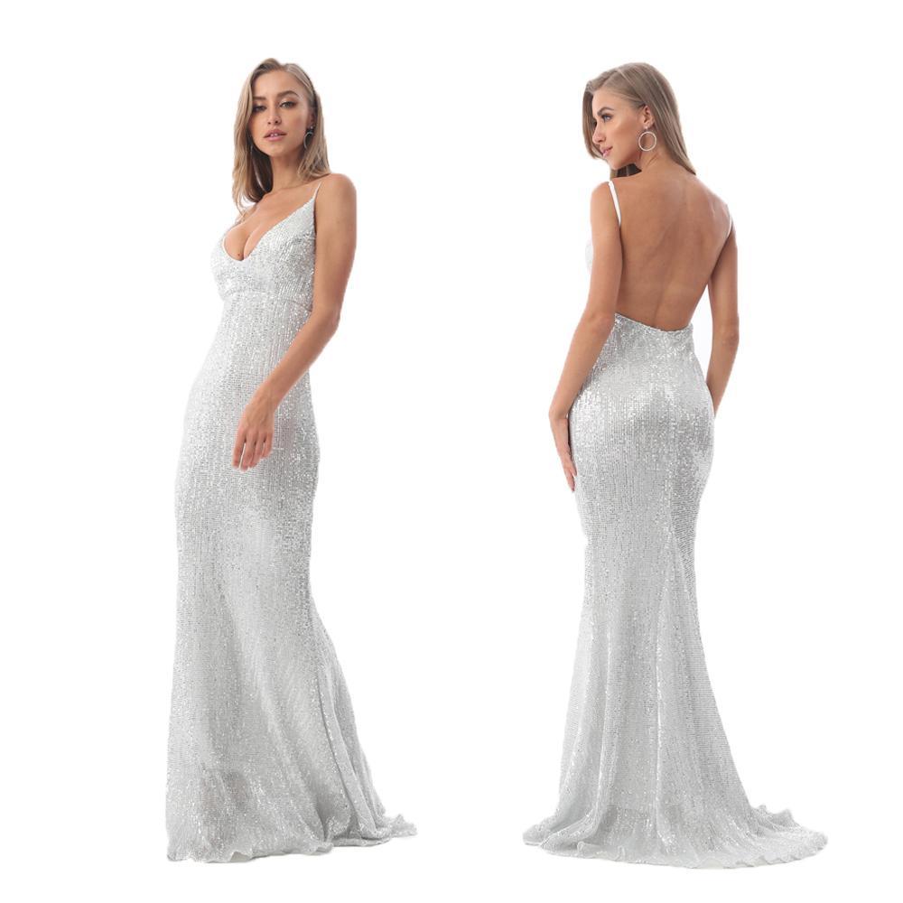 Sexy Stretch Silber Pailletten Maxi Kleid Aushöhlen Bodenlangen Sommer Party Kleid Gepolsterte V-Ausschnitt Backless Mermaid Dress Y190424
