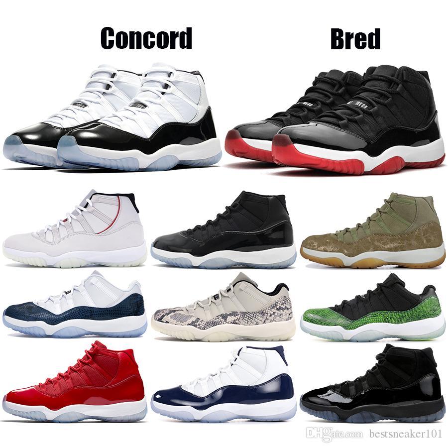Высочайшее качество 11s Concord 45 Platinum Tint Bred Men Баскетбольные кроссовки 11 Кепка и платье Низкая змеиная полночь Темно-синие дизайнерские кроссовки