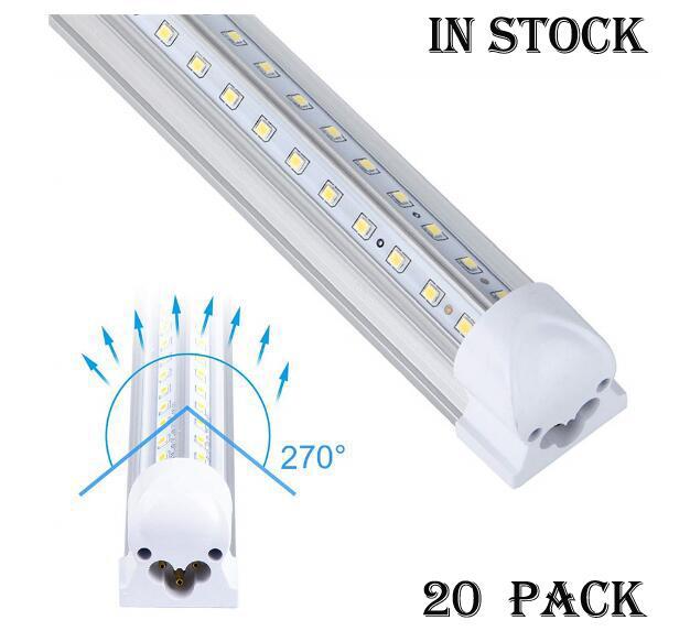 20PCS LED tubos de luz em forma de V 4 pés 5 pés 6 pés 8 pés LED T8 Integração 72W 85-265V duplas Lados Lâmpadas de luz tubo refrigerador luz da porta