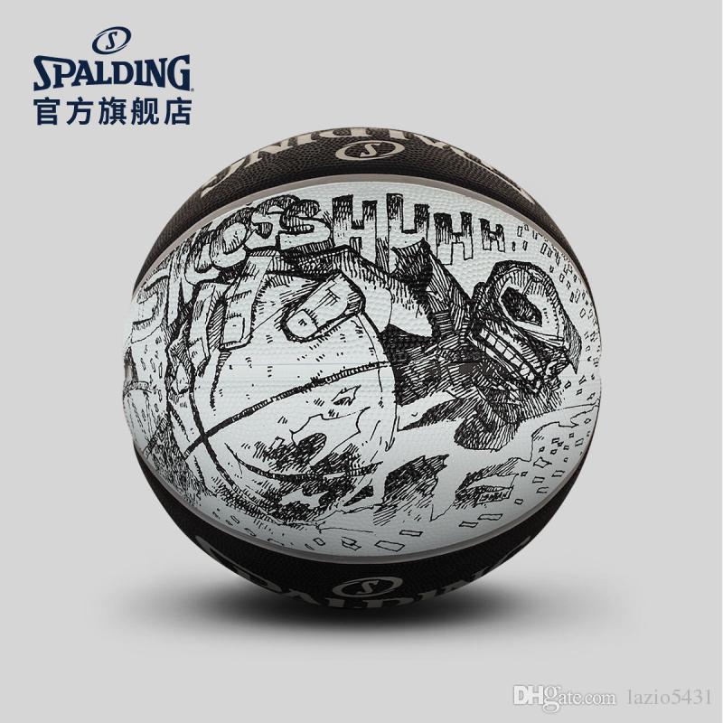 جديد Spalding أسود أبيض رسم كرة السلة 83-534Y حجم 7 ارتداء الخارجي لعبة المطاط مقاومة كرة السلة كرة السلة Street Street